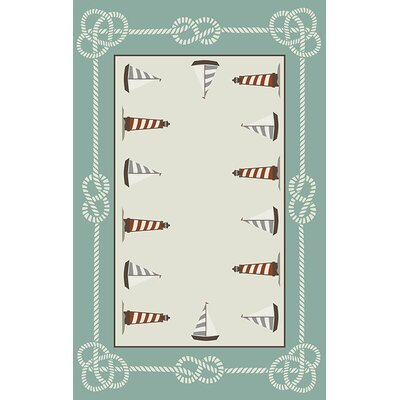 Skyla Rope Lighthouse Sail Boat Cream/Green Indoor/Outdoor Area Rug Rug Size: 710 x 910