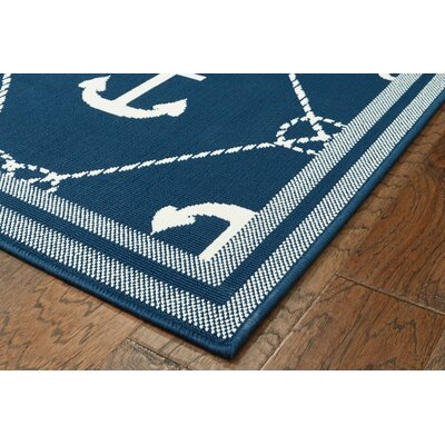 Mariam Anchor Navy/White Indoor/Outdoor Area Rug Rug Size: 5 x 73