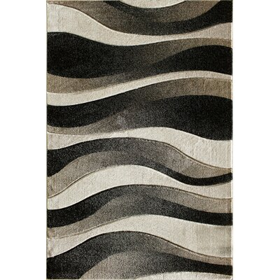 Kathrine Hand Carved Waves Black/Gray Area Rug Rug Size: 710 x 910