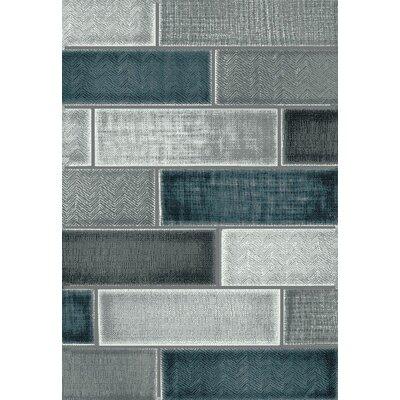 Johnson Block Blue/Gray Area Rug Rug Size: 710 x 910