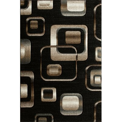 Lina Hand Carved Squares Black Area Rug Rug Size: 710 x 910