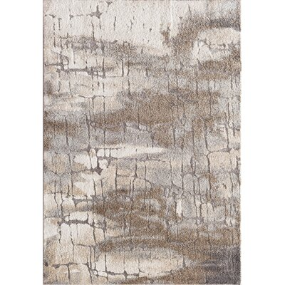 Clarice Abstract Cream/Gray Area Rug Rug Size: 5 x 73