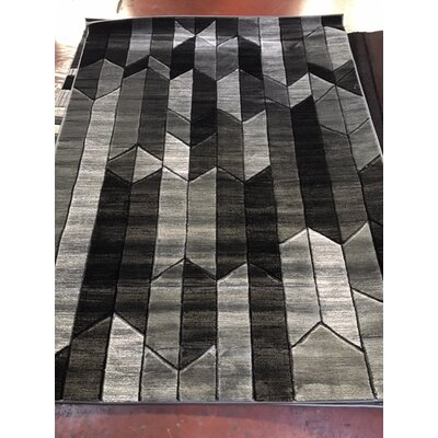 Volmer Hand Carved Gray/Black Area Rug Rug Size: 5 x 73