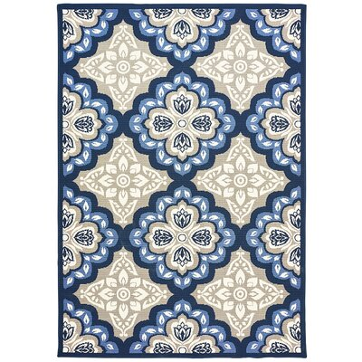 Restrepo Panel Gray/Blue Indoor/Outdoor Area Rug Rug Size: 7'10