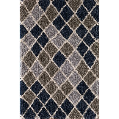 Hien Diamond Trellis Blue/Clay Area Rug Rug Size: 5 x 76