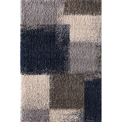 Hien Abstract Block Blue Area Rug Rug Size: 5 x 76