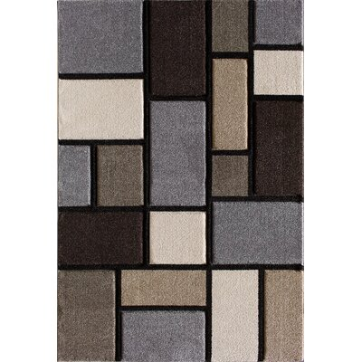 Badgett Gray/Brown Area Rug Rug Size: 5 x 76