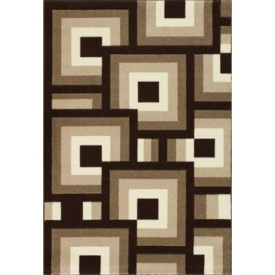Badilla Geometric Blocks Brown Area Rug Rug Size: 710 x 1010