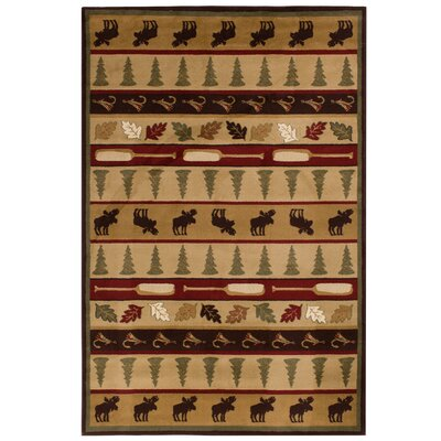 Okane Beige/Red Area Rug Rug Size: Rectangle 710 x 910