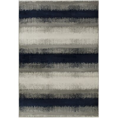 Chupp Stripe Indigo Gray/Cream Area Rug Rug Size: Rectangle 67 x 96