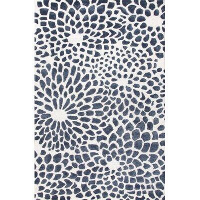 Ivory/Blue Rug Rug Size: 2' x 3'