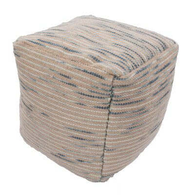 Alma Textural Wool and Cotton Pouf Ottoman Upholstery: Blue