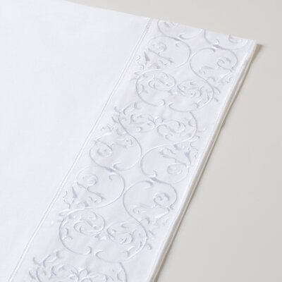 400 Thread Count Embroidered Sheet Set Color: White, Size: Full