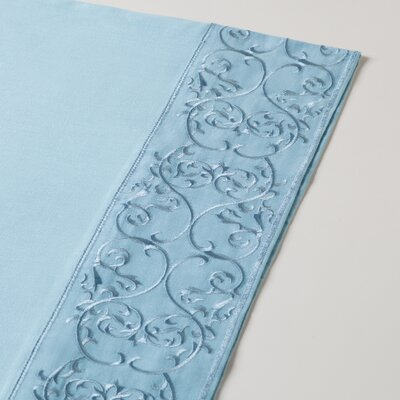 400 Thread Count Embroidered Sheet Set Size: Full, Color: Spa Blue