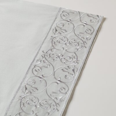 400 Thread Count Embroidered Sheet Set Size: Twin, Color: Mid Gray