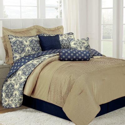 Patina 10 Piece Comforter Set Size: King, Color: Blue