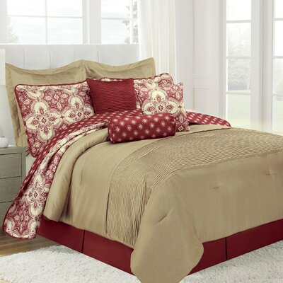 Patina 10 Piece Comforter Set Size: Queen, Color: Red