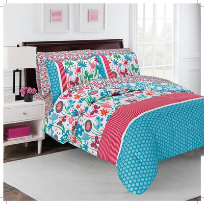 Flirty Floral 4 Piece Comforter Set Size: Queen