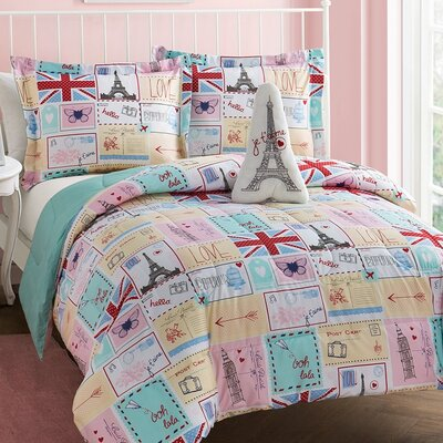 Bonjour 4 Piece Reversible Comforter Set Size: Twin