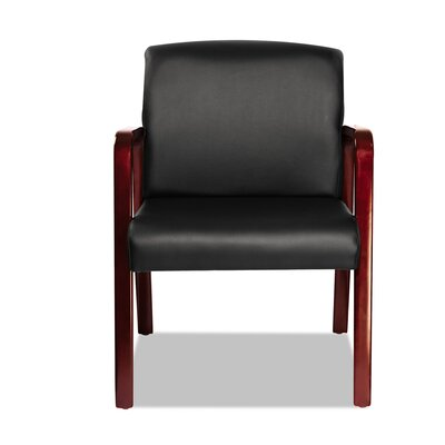 Reception Lounge Series Leather Guest Chair Frame Finish: Mahogany