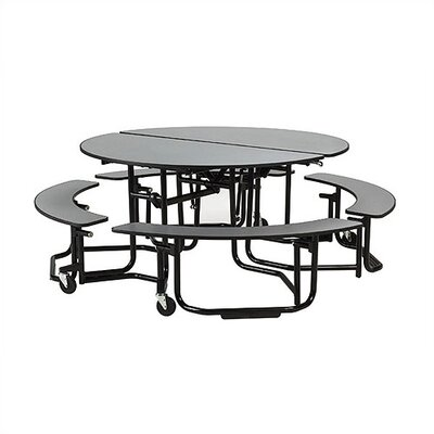 Uniframe 82'' Round Cafeteria Table UFRDS/UFRD5SB-BN-BL-29-LWL-BLWL