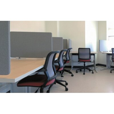 WorkZone 19 x 48 Desk Privacy Panel Trim Color: Black, Fabric Color: Green Tea