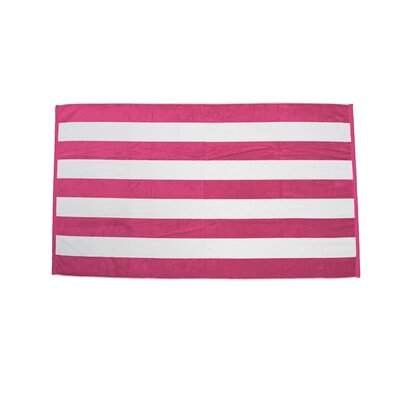 Velour Premium Cabana Beach Towel Color: Hot Pink / White