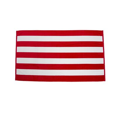 Velour Premium Cabana Beach Towel Color: Red / White
