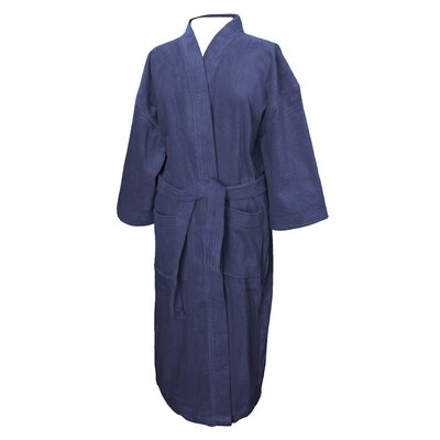 Terry Velour Bathrobe Color: Navy
