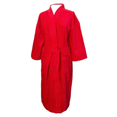 Terry Velour Bathrobe Color: Red
