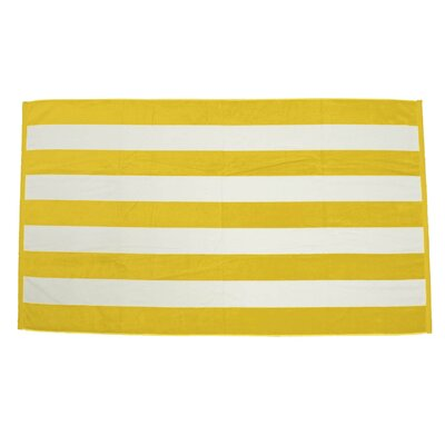 Velour Premium Cabana Beach Towel Color: Yellow / White