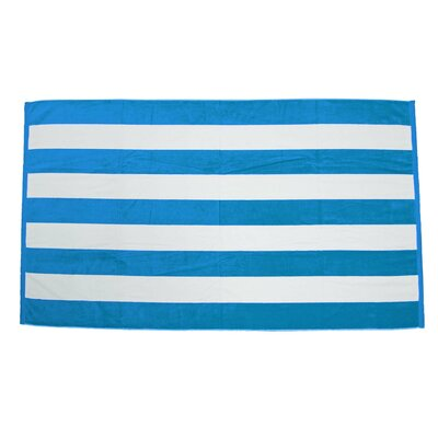 Velour Premium Cabana Beach Towel Color: Aqua / White