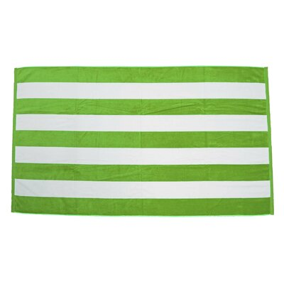 Velour Premium Cabana Beach Towel Color: Lime / White