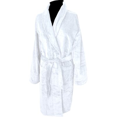 Terry Velour Shawl Bathrobe Color: White