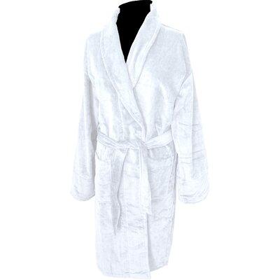 Terry Velour Shawl Bathrobe Color: White