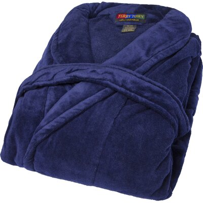 Terry Velour Shawl Bathrobe Color: Navy