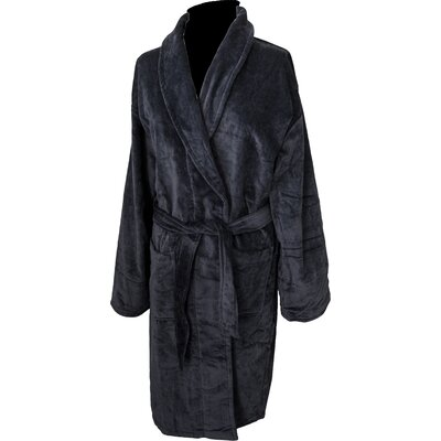 Terry Velour Shawl Bathrobe Color: Black RV2001 Black