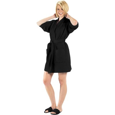 Bathrobe Color: Black, Size: Large