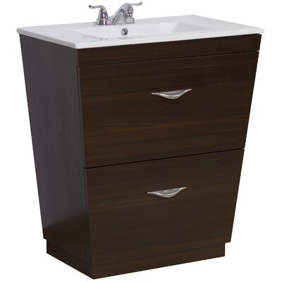 24 Single Modern Bathroom Vanity Set Hardware Finish: Aluminum, Faucet Mount: 4 Off Center