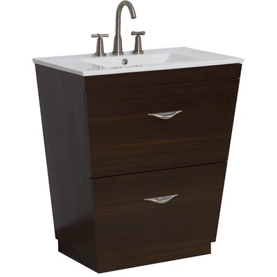 24 Single Modern Bathroom Vanity Set Hardware Finish: Brushed Nickel, Faucet Mount: 8 Off Center