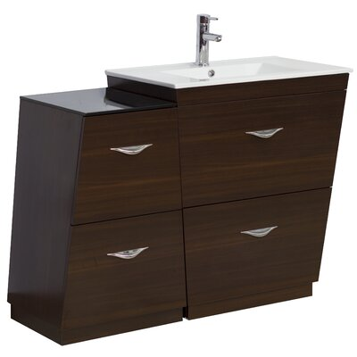 40.5 Single Modern Bathroom Vanity Set Hardware Finish: Brushed Nickel, Faucet Mount: Single