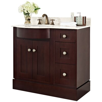 36 Single Transitional Bathroom Vanity Set Hardware Finish: Aluminum