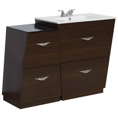 40.5 Single Modern Bathroom Vanity Set Faucet Mount: 4 Off Center, Hardware Finish: Aluminum