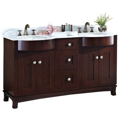 60 Double Transitional Bathroom Vanity Set Hardware Finish: Aluminum