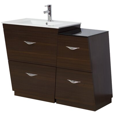 40.5 Single Modern Bathroom Vanity Set Hardware Finish: Chrome, Faucet Mount: Single