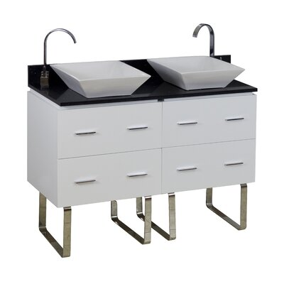 48 Double Modern Bathroom Vanity Set Hardware Finish: Chrome