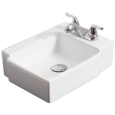 Above Counter Rectangular Vessel Bathroom Sink Faucet Mount: 4 Off Center, Hardware Finish: Chrome
