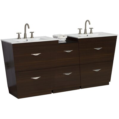 75.5 Double Modern Bathroom Vanity Set Faucet Mount: 8 Off Center, Hardware Finish: Aluminum