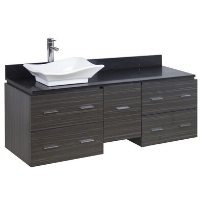 60 Single Modern Wall Mount Bathroom Vanity Set Hardware Finish: Chrome