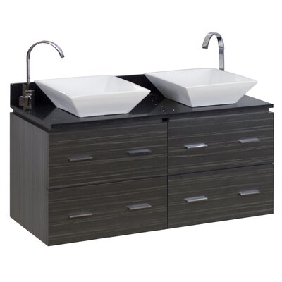 48 Double Modern Wall Mount Bathroom Vanity Set Hardware Finish: Chrome